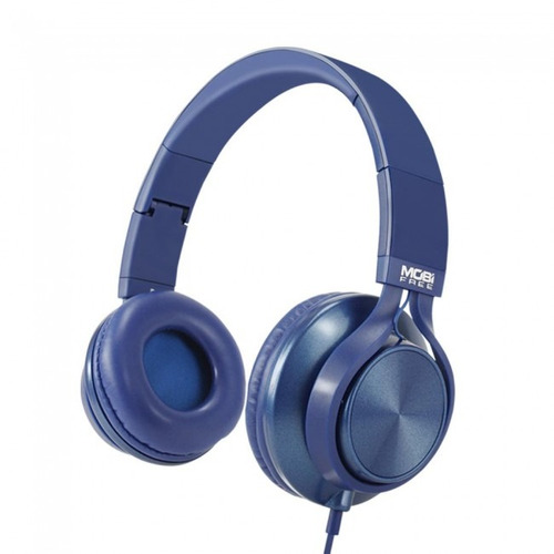 audifonos acteck on-ear con microfono metalicos azul mb-0201