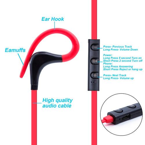 audifonos bluetooth 4.1 a prueba de sudor  negros + case
