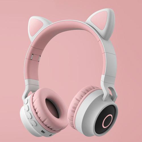 audifonos bluetooth diadema inalambricos con led gato rosado