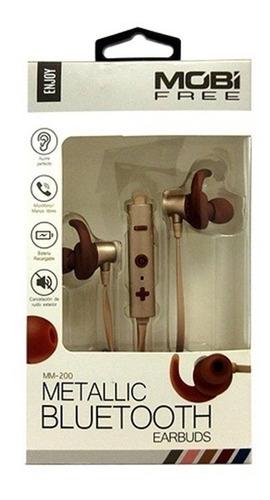 audífonos bluetooth mobifree metalic mb-02020, dorado