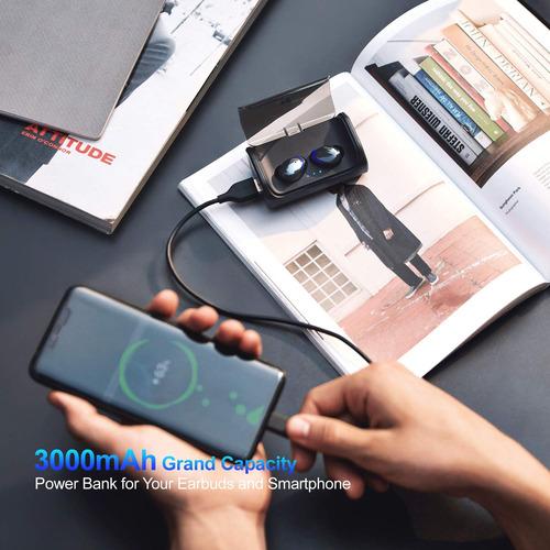 audífonos bluetooth tws manos libres base de carga luz azul