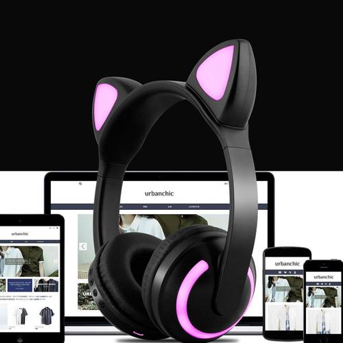 audífonos con forma de orejas de gato con luz led 7 colores