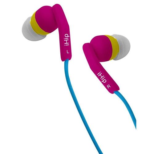 audifonos con microfono fashionable rosa/azul ihip ipfash-3