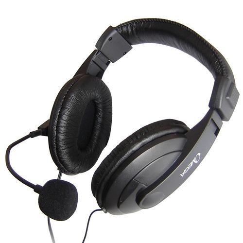 audífonos con micrófono omega diadema en cuero auriculares