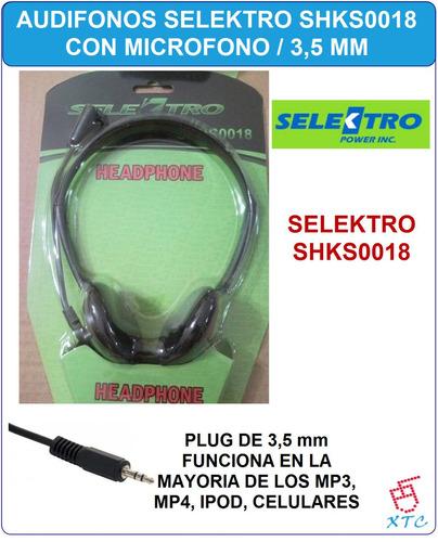 audifonos con microfono selektro shks0018 3.5mm xtc