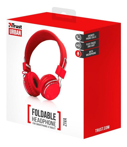 audifonos diadema alambrico trust ziva rojo