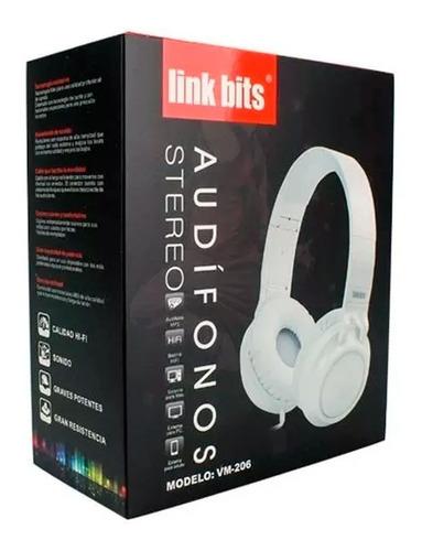 audífonos diadema estéreo auxiliar 3.5mm hifi vm-206 link bits full