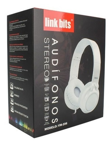 audífonos diadema estéreo auxiliar 3.5mm hifi vm206 full c1s