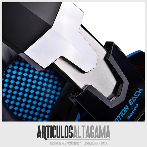 audifonos diadema gamer kotion g2000 con microfono usb y led
