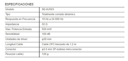 audifonos diadema pioneer se-mj503-k alta fidelidad puebla