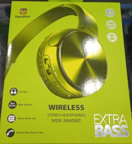 audífonos diadema sony mdr-xb400by extra bass bluetooth verd