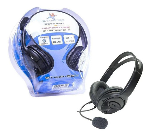 audifonos diadema star tec st-hp-20u usb negro con microfono