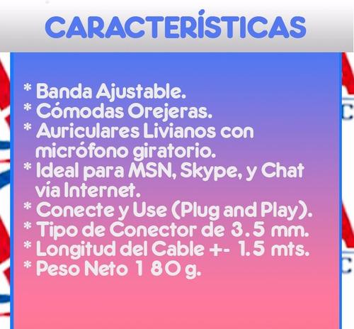 audífonos estéreo c/micrófono au-300 marca gio conecte y use