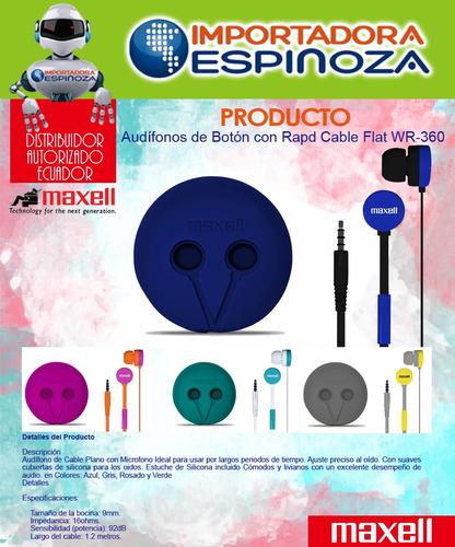 audifonos estereo tipo boton maxell rapd cable flat wr-360