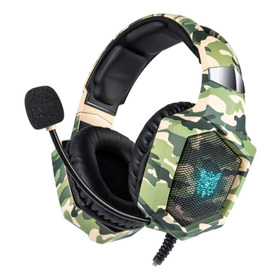 Audífonos Gamer Onikuma K8 Camouflage Green Y Rgb Light
