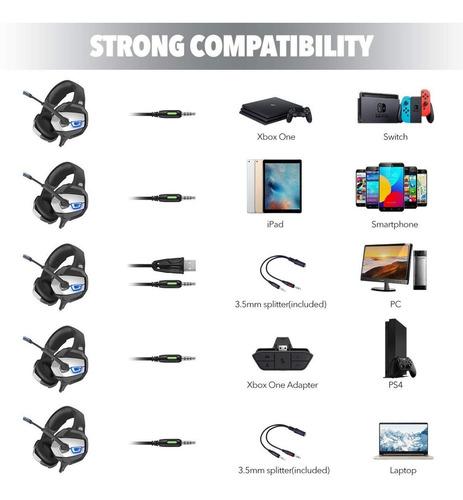 audifonos gamer ps4, xbox, switch, pc onikuma 7.1 35.d ofert