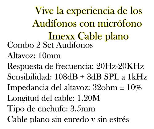 audifonos headphones imexx pc laptop combo 2 bagc
