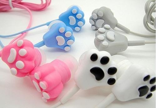 audífonos huellita kawaii gato