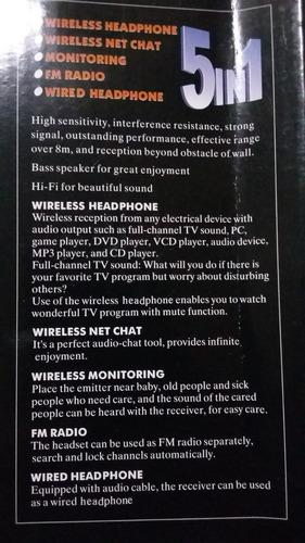 audifonos inalambricos para ver tv, con am/fm radio dvd y pc