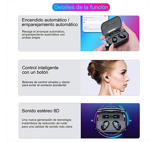 audífonos intraurales inalámbricos bluetooth 3600mah