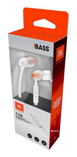 audifonos jbl t110 corder-in-ear blanco