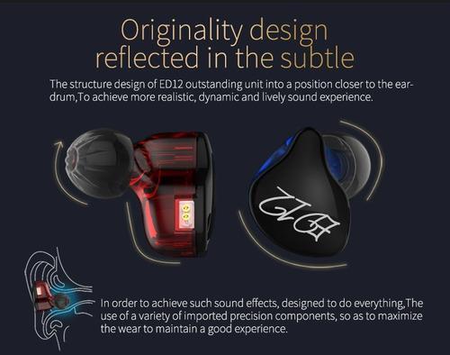audífonos kz ed12 híbridos bicolor con micrófono dual driver