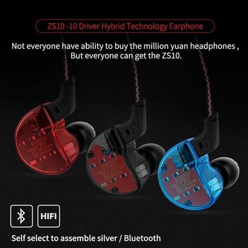audifonos kz zs10 + cable plata + modulo bluetooth + estuche