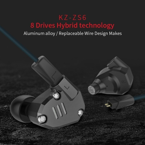 audífonos kz zs6 hibridos 8 drivers con microfono extra bass