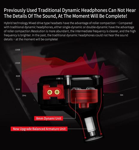 audífonos kz zsa híbridos 4 drivs aluminio monitor micrófono