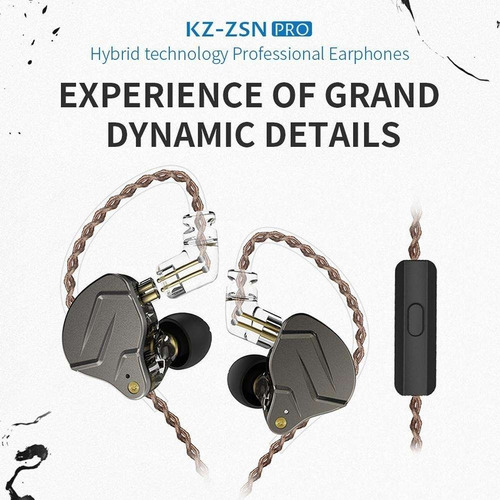 audífonos kz zsn pro monitores in ear + estuche + espumas