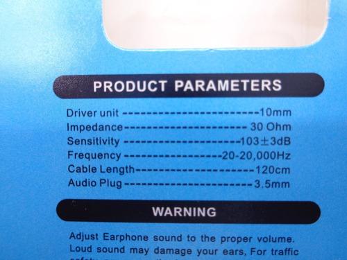 audifonos manos libre extra bajo c/contral volum pack en 4
