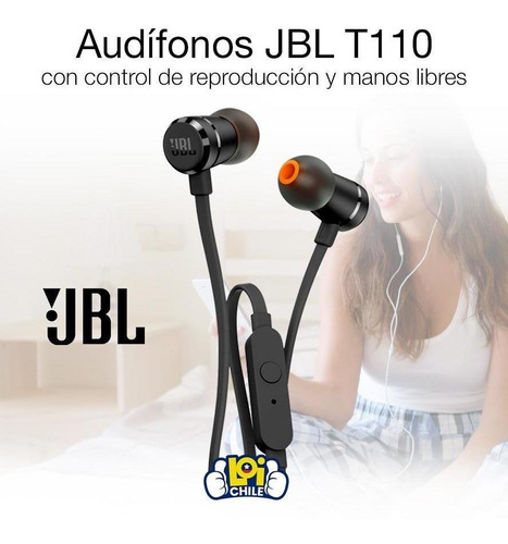 audifonos manos libres jbl pure bass t110 negro loi chile