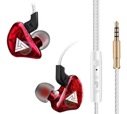 audífonos monitor inear qkz ck5 rojo superbass micro estuche