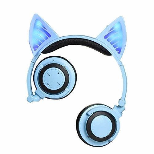 audifonos orejas gato  wifi bluetooth mobile  phone pc azul
