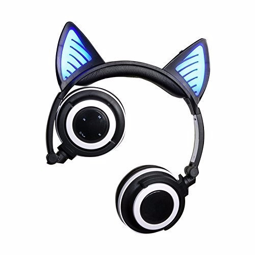 audifonos orejas gato  wifi bluetooth negro phone pc negro