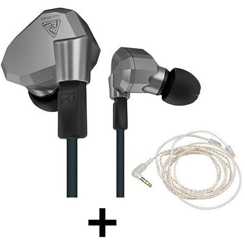 audífonos originales kz zs5 micrófono + cable plata + envío