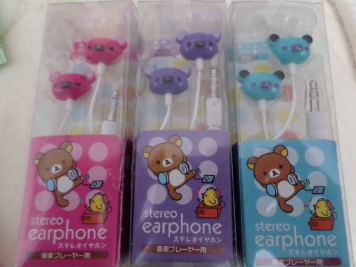 audífonos osito rilakkuma divertido colores para mp3 ipod