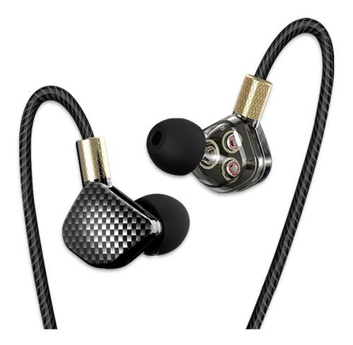 audífonos qkz kd6 tipo fibra de carbono con micrófono 3 driv