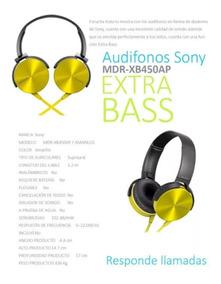 Audifonos Sony Manos Libres Extra Bass Amarillo Seminuevo