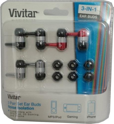 audifonos vivitar - 3 pares - colores surtidos