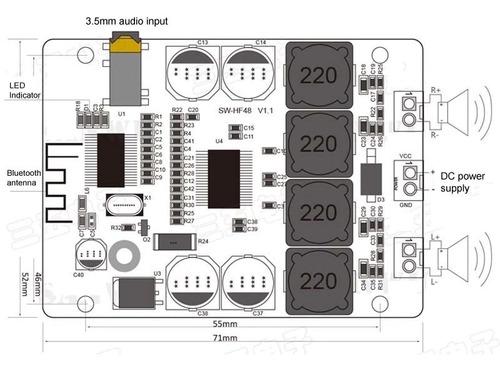 audio amplificador bluetooth  integrado potencia 30w 2canal