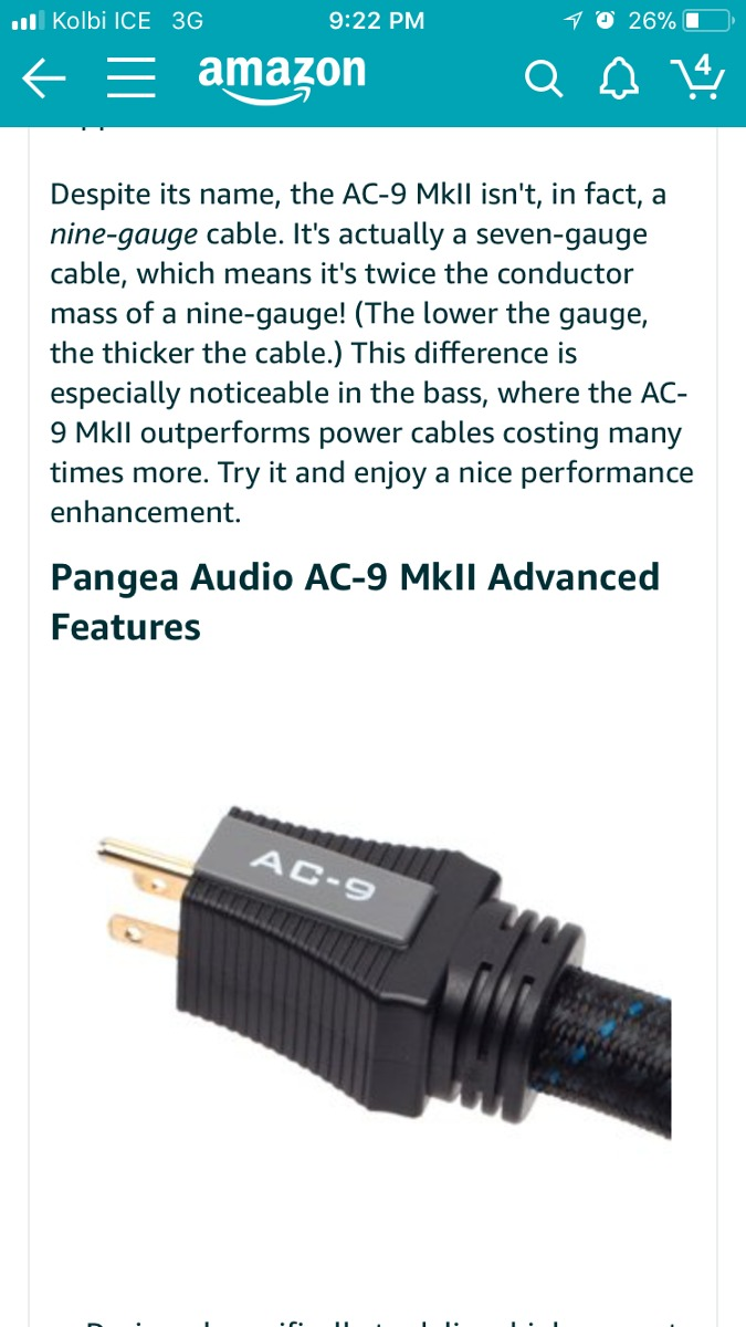 Audio Cable Poder (pangea Ac 9 Mkii Power Cable 1.5 Metros ...