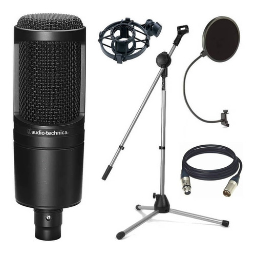 audio technica at2020 micrófono antipop araña pie cable 3m