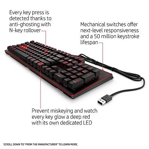 augurio por la hp cable usb gaming keyboard 1100 (negro/rojo