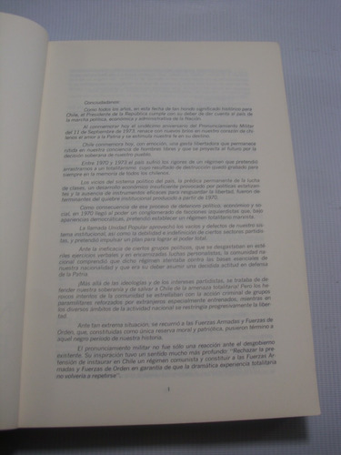 augusto pinochet. mensaje presidencial 1984