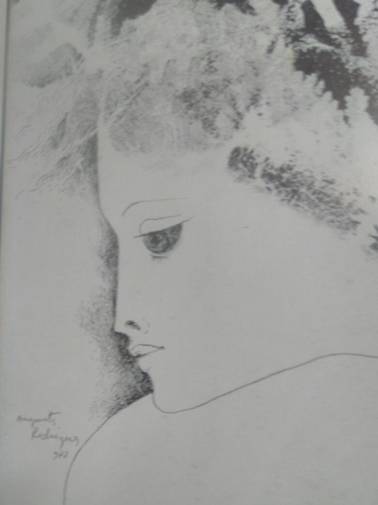 Augusto rodrigues desenho mulher assinado a lapis e numerado