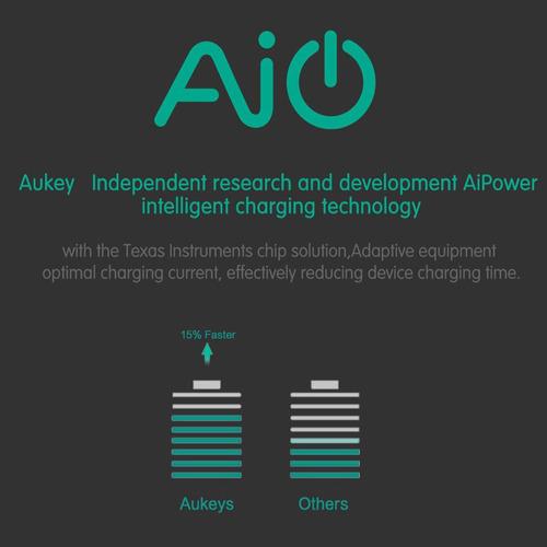 aukey® [qualcomm certificado] usb turbo cargador 5 puertos