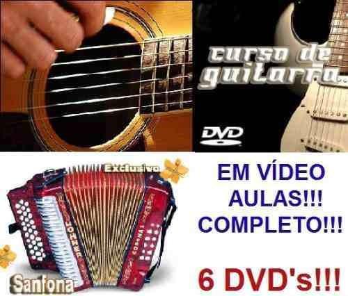 aulas de acordeon + guitarra + violão em 6 dvds ed