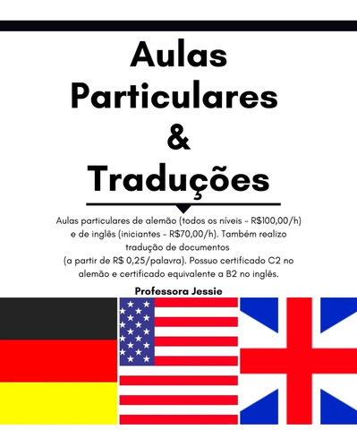 aulas particulares de alemão e inglês online/domicílio