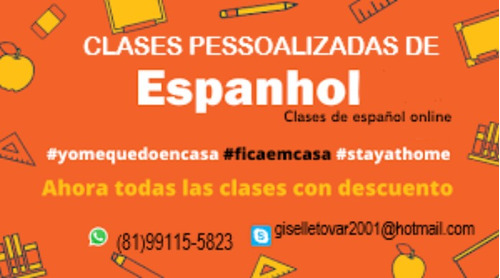 aulas particulares espanhol via skype